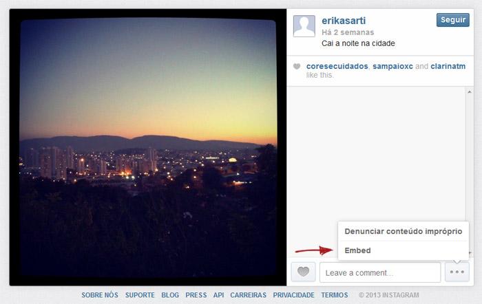 Opção de embed no Instagram
