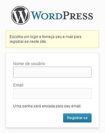 Tela de login do WordPress com a mensagem personalizada