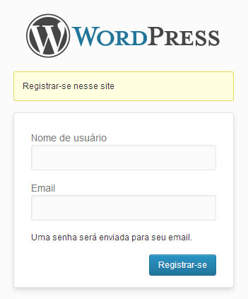Tela padrão de registro do WordPress